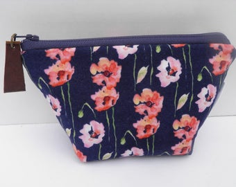 Small essential oil zipper pouch,  young living, doterra, edens garden, oil organizer, travel oil bag, navy with coral flowers, floral