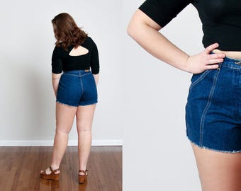 1980s High Rise Cutoff Denim Shorts - Beachy - Summery - L