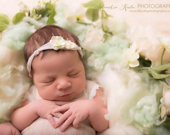 Newborn - toddler 'GEMMA' pastel greenflower  baby breath Headband tieback halo photo prop