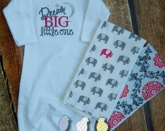 Infant Gown and Burp Cloth set - Dream Big Little One