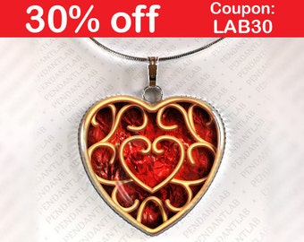 Heart Container Pendant, Piece of Heart Charm, Geekery, Red
