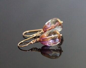 Mothers Day gift, Czech glass drop earrings, pink glass earrings, Czech glass jewelry gift, Summer earrings, 14k rose gold fill ear wires