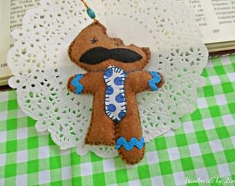 Whimsical Funny Felt Gingerbread, Xmas Tree Ornament, Felt Moustache Gingerbread boy Ornament, Gingerbread bite ornament, Gingerbread boy