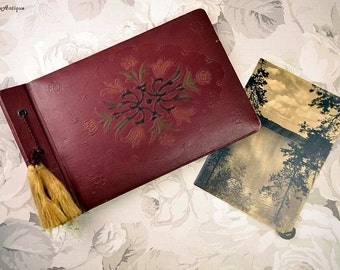 Vintage 1950s Soviet Era Hardcover Hand Tooled Leather Cover Small Retro Photo Album Vintage Travelling Sketchbook Retro Diary Book