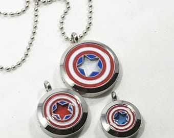 Essential Oil Necklace - America - Superhero Necklace - Father's Day