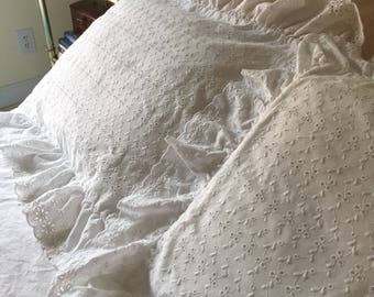 Petticoat Ruffle White Eyelet Pillow Shams ~ All Over Eyelet with Ruffle Flounces Pair of Pillow Covers ~ Vintage~Standard Shams