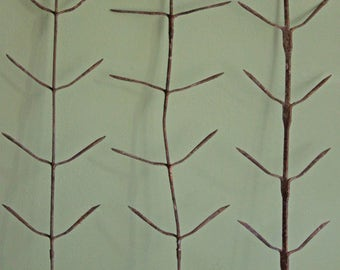 Rusty Metal Home or Garden Decorative Fish Bone Sticks. Three Shabby Chic Rustic Items.  Ready to hang.