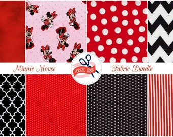 DISNEY MINNIE MOUSE Fabric by the Yard, Fat Quarter Fabric Bundle Pink Red & Black Fabric 100% Cotton Fabric Quilting Fabric Apparel Fabric