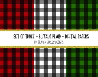 Buffalo Plaid digital paper, Christmas digital paper, Christmas scrapbook paper, Christmas downloads, winter digital paper, Christmas plaid