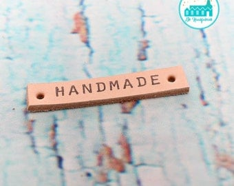 Leather Label 1 cm wide 'HANDMADE' printed