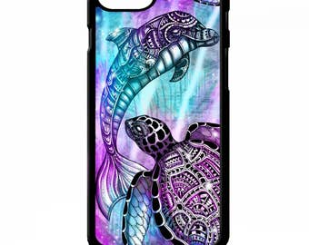 Sea turtle dolphin pretty sea animal colourful graphic pattern print cover for iphone 4 4s 5 5s 5c 6 6s 7 plus SE phone case