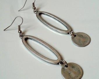 Metal earrings, oval earrings, ethnic earrings, gipsy earrings, nickel free earrings, long earrings, gift idea, gift for her, plaque