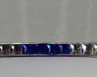 Art Deco Bar Pin, Vintage Sapphire Rhinestone Brooch, Wedding Brooch, Silver Rhinestone Bar Pin, Blue Bar Pin, Antique Blue Bar Pin Under 20