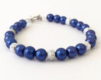 Cobalt Blue Bracelet, Blue Beaded Bridal Jewelry, Cobalt Blue Wedding, Blue Bridesmaid Jewelry, Bridal Bracelet