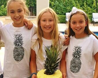 Pineapple T-Shirt, Fruit Tshirt, White Cotton Short Sleeve Tee for Girls, Fruity Theme, Plant Based, Vegetarian, Vegan, G-W-SS-T