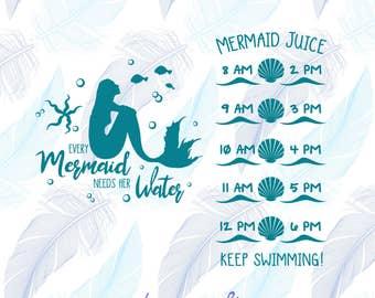 Mermaid Decal - Every Mermaid Needs Her Water - Water Bottle Decal - Mermaid Vinyl Decal - Motivational Vinyl Decal - Water Tracker Decal