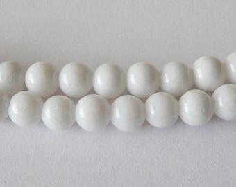 10mm White Jade (large hole)