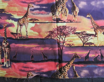 "26""  x 44""  of Giraffes at African Sunset  FREE SHIPPING"