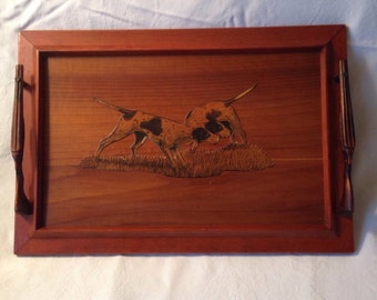 Vintage Wood Serving Tray, Hunting Dogs, Rifle Handles