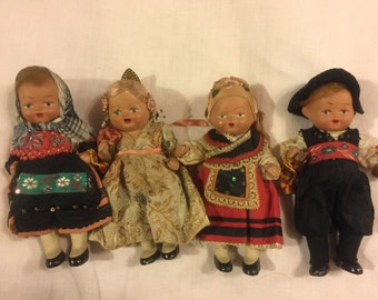"Antique 5"" all bisque travel dolls/ all original"