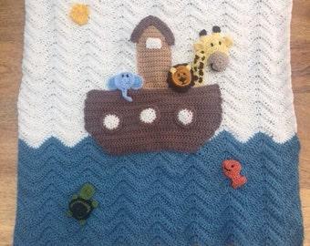 Noah's ark crocheted baby blanket