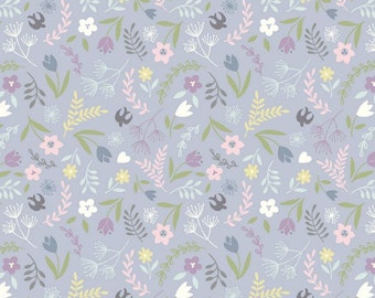 Lewis & Irene Salisbury Spring Patchwork Quilting Fabric A207.2 Swallows and Blooms on lavender
