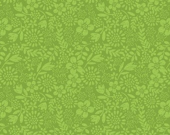 Lewis & Irene 'DISCOUNTED Clearance Price' Our Friends in the Garden A81.2 Blender Lime Patchwork Quilting Fabric