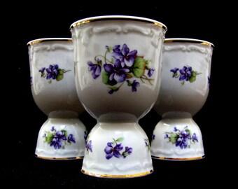 Double Egg Cup Set 3 Vintage Violets Retro Egg Cups Purple Flowers Gold Trim Embossed Design Bone China Adderley Style Romantic Floral Decor