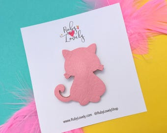 Pink Cat Snap Clip. Summer Clips, Leather Snap Clips, Pink Hair Clips, Snap Clips, Pink Pussy Cat, Kitty Cat Clip, Pink Leather Clip, Unique