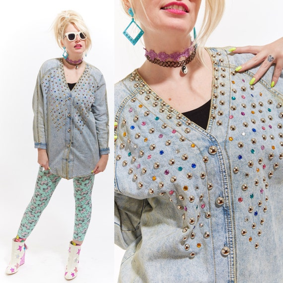 Vtg 80s ACID WASHED Denim Jean Top Blouse Cardigan Bedazzled STUDDED Kitsch Retro Faded Distressed Grunge Rave Club Kid Sea Punk Pastel Goth