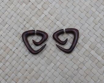 Triangle Spiral Earring, Small Wood Earrings, Wood Fake Gauge Earrings, Sono Fake Piercing