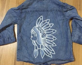 Kids hand painted denim shirt