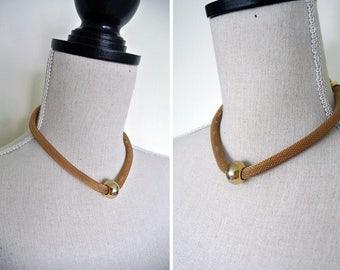 Vintage 1960s Gold Mesh Rope Adjustable Necklace Choker