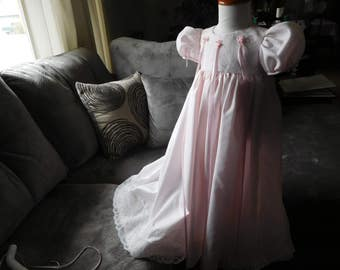 1012 Pink Blush Christening Gown with Bonnet