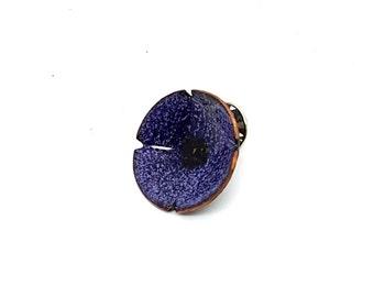 Purple Copper Enamel Flower Poppy Brooch Pin
