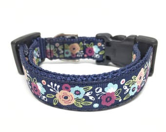 Flower Dog Collar Adjustable Girly Small Dog Collar
