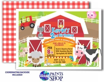 Boy Farm Birthday Invitation - Country Birthday Party