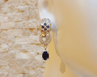 Sapphire, Ruby and Sterling Silver Tiger earrings with pave cz