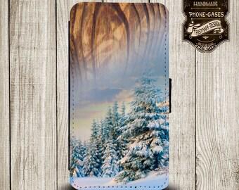 "Handytasche, Leather Wallet Phone Case  iPhone & Samsung,Sony Xperia  "" Winterwald"""