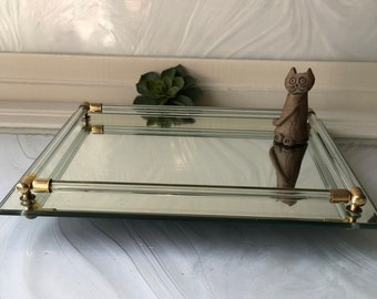 Vintage Mid Century mirror and glass tray