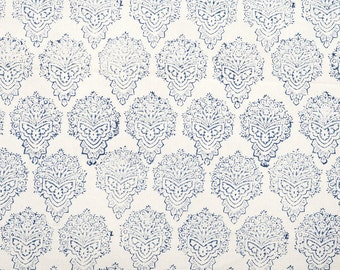 COTTON FABRIC 18 - Block printed thicker cotton with blue motif.
