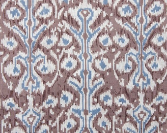 COTTON FABRIC DESIGN 12 - Grey Brown with Blue and White