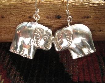 Sterling 3D Elephant Dangle Earrings