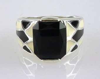 Onyx and Black and White Enamel Ring, 925 Sterling Silver