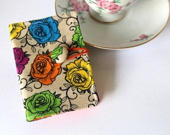 Tea Bag Wallet, Tea Wallet, Tea Bag Holder, Tea Organizer, Tea Bag Caddy, Card Holder, Tea Bag Carrier, Bright Roses, Polka Dots on Orange