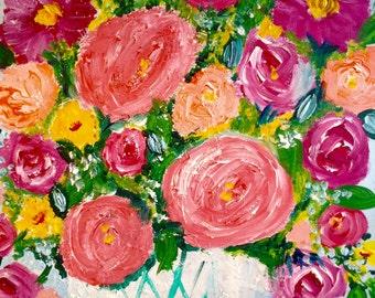"original painting "" Paris French country garden"" 16 x20 ""   Original art still life"