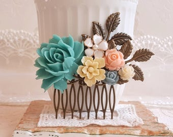 Turquoise Bridal comb Vintage inspired hair accessory Pastel color roses lucite flower hair comb Rustic bridal comb