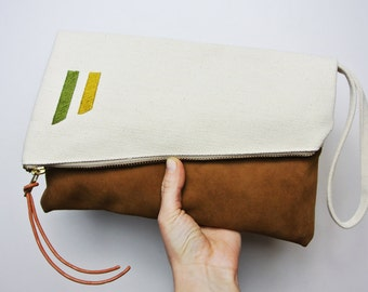 Canvas and Suede foldover Clutch with Hand Embroidered detail