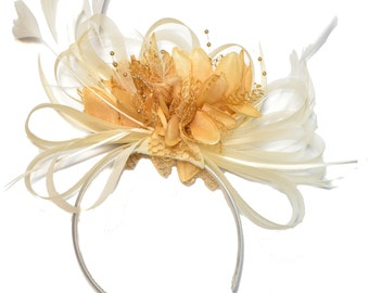 Cream and Camel Beige Fascinator on Headband Alice Band UK Wedding Ascot Races Derby