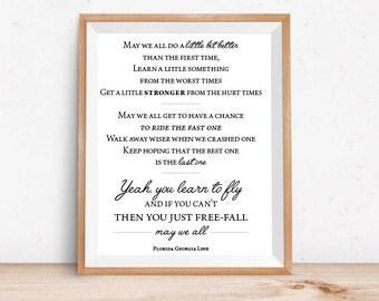 May We All // Art Print // Florida Georgia Line Lyrics // Home Decor // Gift Idea